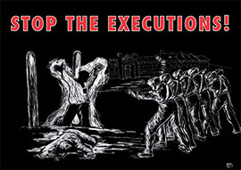 Black and white poster of a rifle squad firing at a man, based on Goya painting 'The shootings of May 3rd'. Headline: Stop the executions!